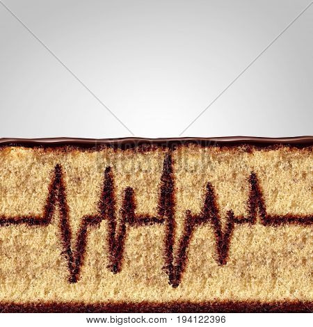 Eating and health concept as a cake with the filling shaped as an ekg or ecg monitor pattern as a medical or medicine risk symbol due to poor diet or unhealthy nutrition in a 3D illustration style.