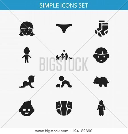 Set Of 12 Editable Kin Icons. Includes Symbols Such As Moneybox, Son, Baby And More. Can Be Used For Web, Mobile, UI And Infographic Design.