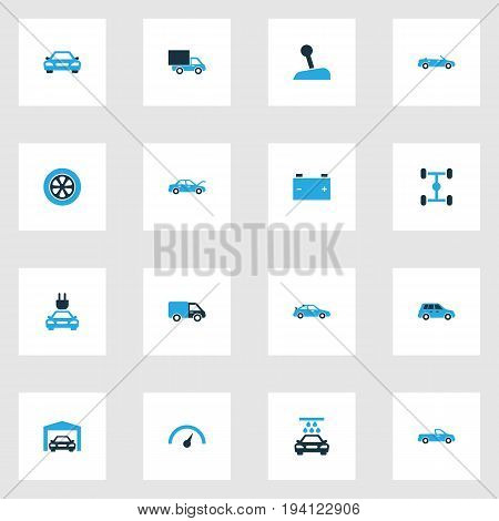 Car Colorful Icons Set. Collection Of Car, Electric Car, Battery And Other Elements. Also Includes Symbols Such As Car, Speedometer, Gear.