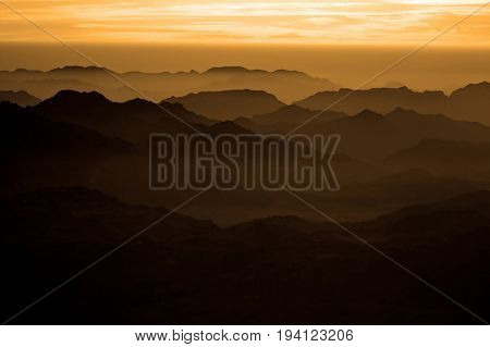 Panorama rocks of holy ground Mount Sinai on the sunrise Egypt