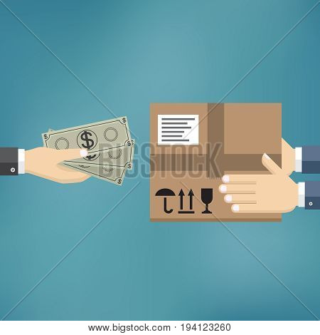 Human hand hold money and pay for the package. Delivery service concept. Payment by cash for express delivery. Vector illustration in flat design.