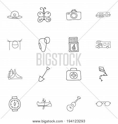Set Of 16 Editable Camping Icons. Includes Symbols Such As Photographing, Shovel, Camp House And More. Can Be Used For Web, Mobile, UI And Infographic Design.