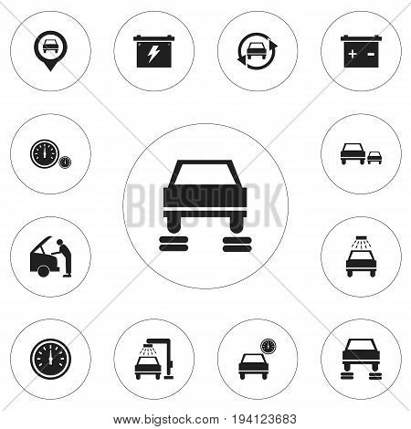 Set Of 12 Editable Car Icons. Includes Symbols Such As Race, Battery, Odometer And More. Can Be Used For Web, Mobile, UI And Infographic Design.