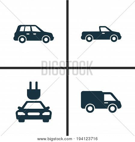 Auto Icons Set. Collection Of Carriage, Car, Plug And Other Elements. Also Includes Symbols Such As Carriage, Car, Automobile.