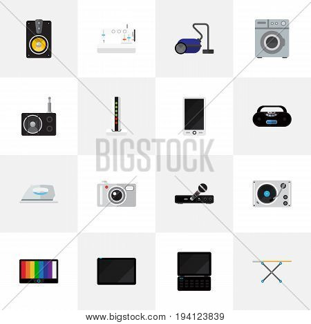 Set Of 16 Editable Technology Icons. Includes Symbols Such As Camera, Sweeper, Cloth Iron And More. Can Be Used For Web, Mobile, UI And Infographic Design.