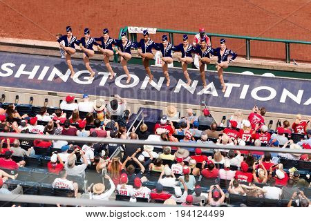 Washington DC USA - 4 July 2017 The Rockettes perform between innings for the fans at the New York Mets Versus The Washington Nationals baseball game on July 4 2017.