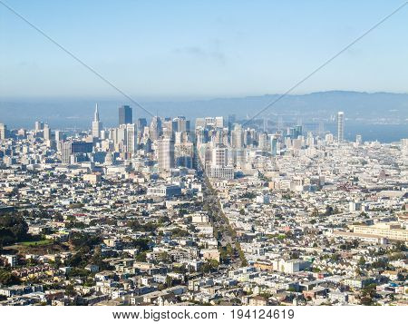 Cityscape or skyline of San Francisco viewed from Twin Peaks