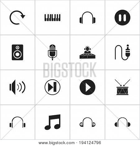Set Of 16 Editable Media Icons. Includes Symbols Such As Earpiece, Disco Club, Microphone And More. Can Be Used For Web, Mobile, UI And Infographic Design.