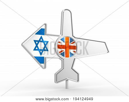 Emblem design for airlines, airplane tickets, travel agencies. Airplane icon and destination arrow. Flags of the Great Britain and Israel. 3D rendering