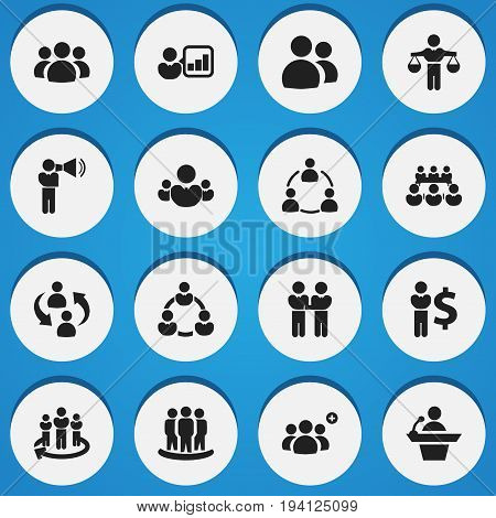 Set Of 16 Editable Team Icons. Includes Symbols Such As Talking Man, Introducing, Partnership And More. Can Be Used For Web, Mobile, UI And Infographic Design.