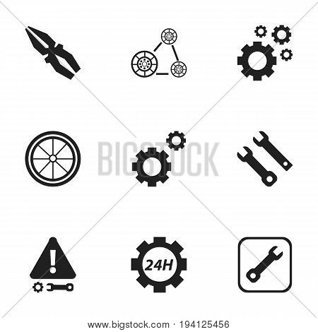 Set Of 9 Editable Toolkit Icons. Includes Symbols Such As Caution, Cogwheels, Mechanic Cogs And More. Can Be Used For Web, Mobile, UI And Infographic Design.