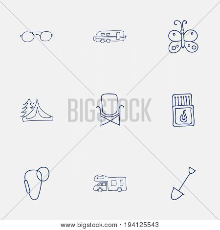 Set Of 9 Editable Camping Icons. Includes Symbols Such As Carabine, Camper, Seat And More. Can Be Used For Web, Mobile, UI And Infographic Design.