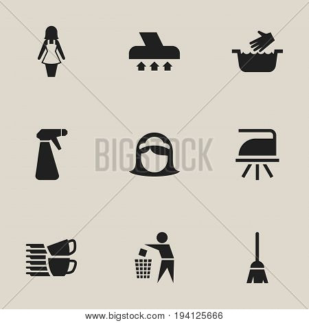 Set Of 9 Editable Hygiene Icons. Includes Symbols Such As Clothes Washing, Housekeeping, Exhauster And More. Can Be Used For Web, Mobile, UI And Infographic Design.