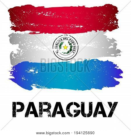 Flag of Paraguay from brush strokes in grunge style isolated on white background. Country in South America. Latin America. Vector illustration