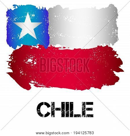 Flag of Chile from brush strokes in grunge style isolated on white background. Country in South America. Latin America. Vector illustration