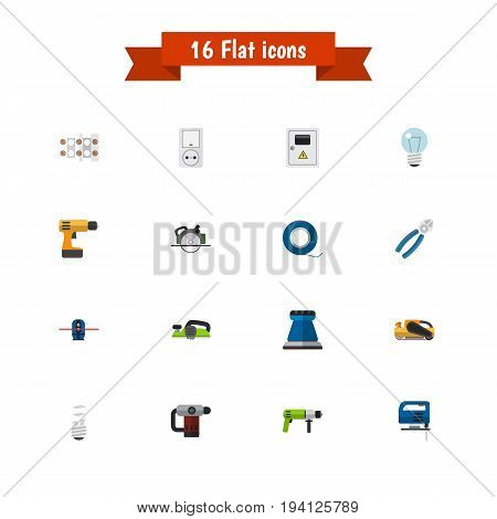 Set Of 16 Editable Instruments Icons. Includes Symbols Such As Buzzsaw, Borer, Bulb And More. Can Be Used For Web, Mobile, UI And Infographic Design.