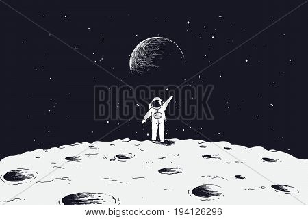 Astronaut stand on surface of Moon and welcomes us.Sciense theme.Vector illustration