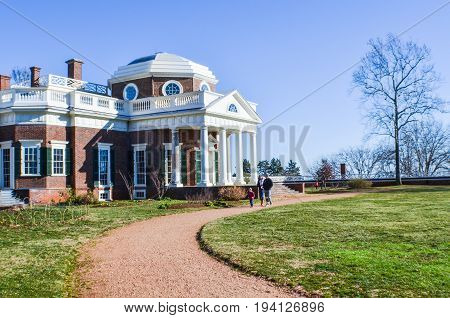Charlottesville USA - January 20 2013: Monticello Thomas Jefferson's home with columns in winter with people walking by