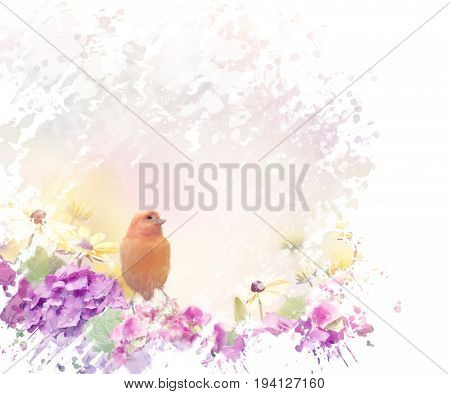 Yellow Bird with flowers watercolor