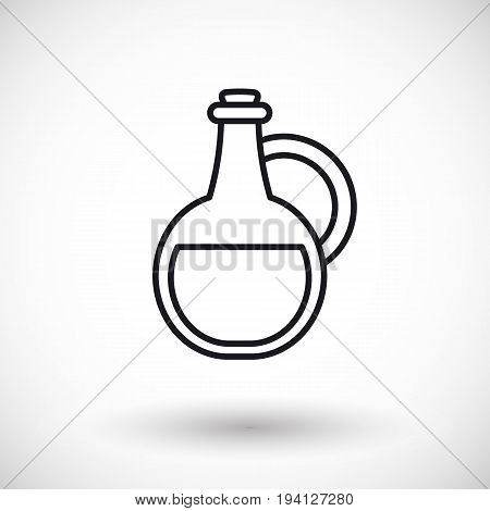Bottle thin line vector web icon Outline design of potion or chemistry bottle with round shadow isolated on the white background vector illustration