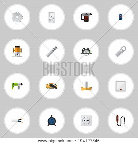 Set Of 16 Editable Electrical Icons. Includes Symbols Such As Orifice, Geodesist, Buzzsaw And More. Can Be Used For Web, Mobile, UI And Infographic Design.