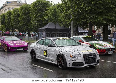 Riga, Latvia - July 01, 2017: Audi RS5 2013 from Gumball 3000 race Riga to Mykonos is on display. Riga host Gumball 3000 during the 2017 Rally being both the starting grid and flag drop destination.