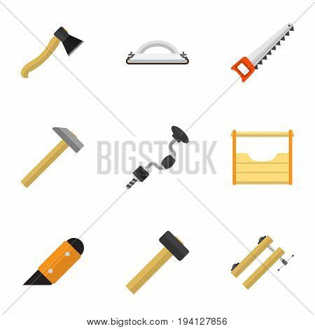 Set Of 9 Editable Instrument Icons. Includes Symbols Such As Nag, Boer, Hammer And More. Can Be Used For Web, Mobile, UI And Infographic Design.