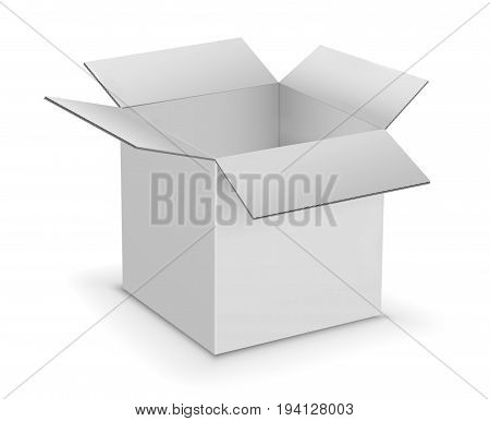 White Opened Cardboard Box Vector Illustration Isolated on White Background
