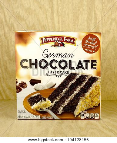 RIVER FALLS,WISCONSIN-JUNE 22,2017: A box of Pepperidge Farm brand german chocolate cake with a wood background.