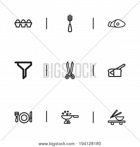 Set Of 9 Editable Cooking Icons. Includes Symbols Such As Noodles Bowl, Beef, Rooty And More. Can Be Used For Web, Mobile, UI And Infographic Design.