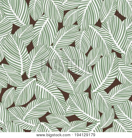 Abstract leaves seamless pattern, vintage vector background. Hand-drawn leaves on a brown background. For fabric design, wallpaper, wrappers, decorating