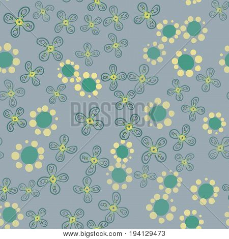 Vector illustration of green garden with stylized flowers different shapes Print