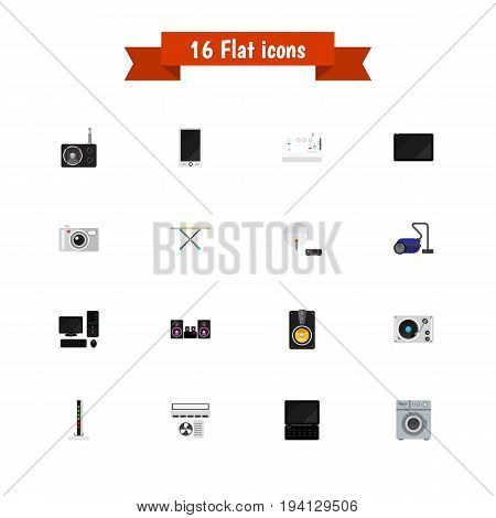 Set Of 16 Editable Technology Icons. Includes Symbols Such As Sewing Machine, Modem, Ventilation And More. Can Be Used For Web, Mobile, UI And Infographic Design.