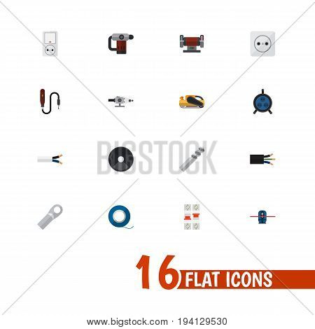 Set Of 16 Editable Electric Icons. Includes Symbols Such As Auger, Adhesive, Rosette And More. Can Be Used For Web, Mobile, UI And Infographic Design.