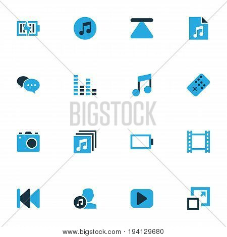 Media Colorful Icons Set. Collection Of Energy, Chatting, Maximize And Other Elements. Also Includes Symbols Such As Song, Quarter, Music.