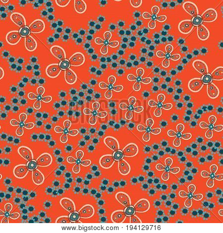 Stylized Seamless Print Autumn Fall Garden with flowers. Childish vector illustration, pattern for warping paper.
