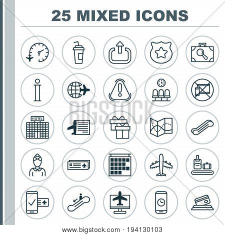 Transportation Icons Set. Collection Of Exit, Seats, Hostess And Other Elements. Also Includes Symbols Such As Seats, Plane, Mobile.