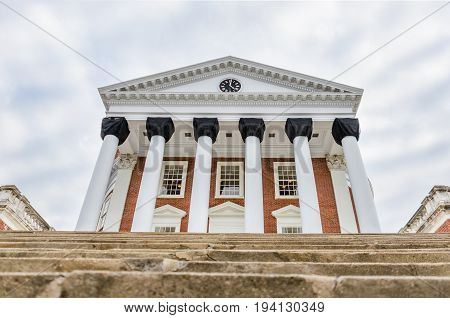 Charlottesville USA - March 1 2014: Back view of University of Virginia Rotunda with steps and black fabric and clock