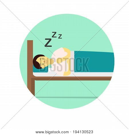 Flat Young man wear night suit sleep with pillow and blanket cover on wood bed.Sleep vector illustration with circle snooze sign.