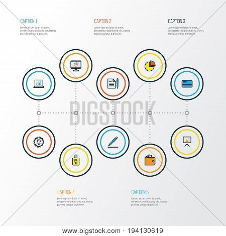Trade Colorful Outline Icons Set. Collection Of Billboard Presentation, Administrator, Pie Chart And Other Elements. Also Includes Symbols Such As Administrator, Card, Signing.