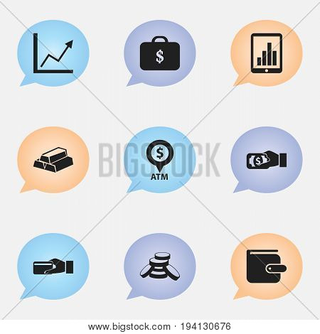 Set Of 9 Editable Banking Icons. Includes Symbols Such As Gold, Bar Graph, Diagram And More. Can Be Used For Web, Mobile, UI And Infographic Design.