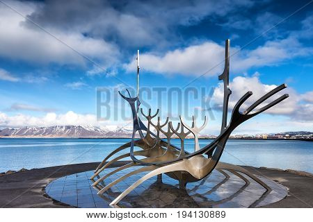 The Sun Voyager (solfar) Sculpture By Jon Gunnar Arnason On The Water Seafront In Reykjavik, Iceland