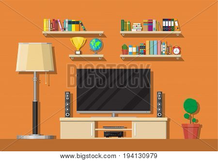 Modern living room interior. Tv on stand. Library wooden book shelf. Globe, lamp, clocks, cactus, cup. Bookcase with different books. Vector illustration in flat style