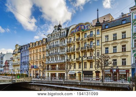 embankment of Tepla river in the center of Karlovy Vary Czech republic