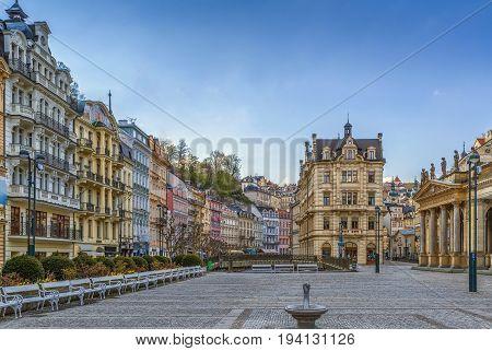 Square in Karlovy Vary city center Czech republic