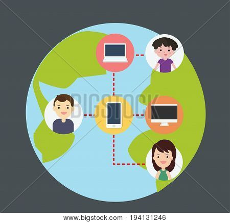 Concept of connecting people with technology Wireless connect people around the world flat design cartoon characters vector illustration