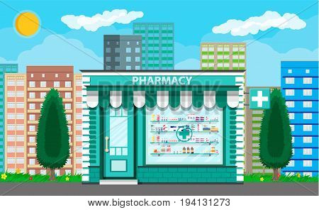 Modern exterior pharmacy or drugstore. Cityscape, tree, buildings, sun, clouds. Medicine pills capsules bottles vitamins and tablets. vector illustration in flat style