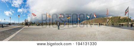 KOBLENZ GERMANY - FEBRUARY 21 2016: Panoramic view of German Corner (Deutsches Eck) at the confluence of Rhine and Mosel rivers Germany