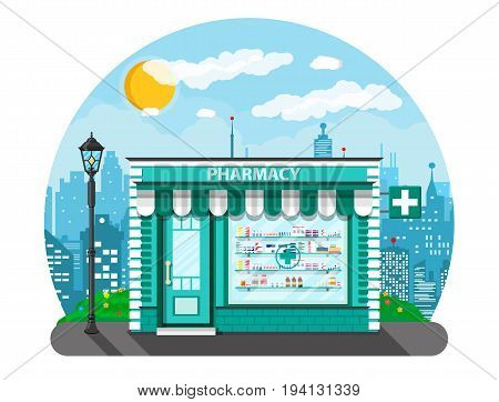 Modern exterior pharmacy or drugstore. Cityscape, lamp, buildings, sun, clouds. Medicine pills capsules bottles vitamins and tablets. vector illustration in flat style