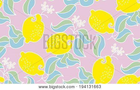 lemon fruit pale tender pattern. vector decorative stylized illustration